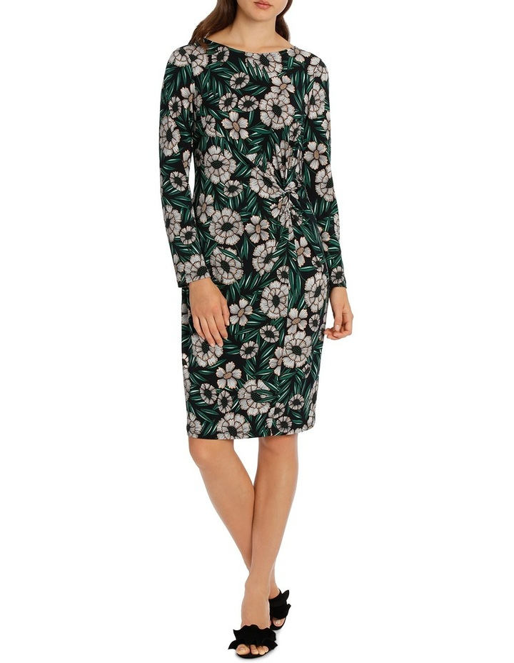 Tropical Leaf Tie Neck Dress With Ruffle 3/4 Sleeve image 1