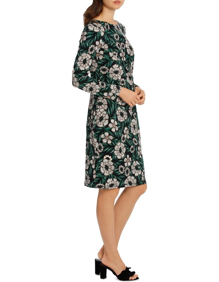 Tropical Leaf Tie Neck Dress With Ruffle 3/4 Sleeve image 2