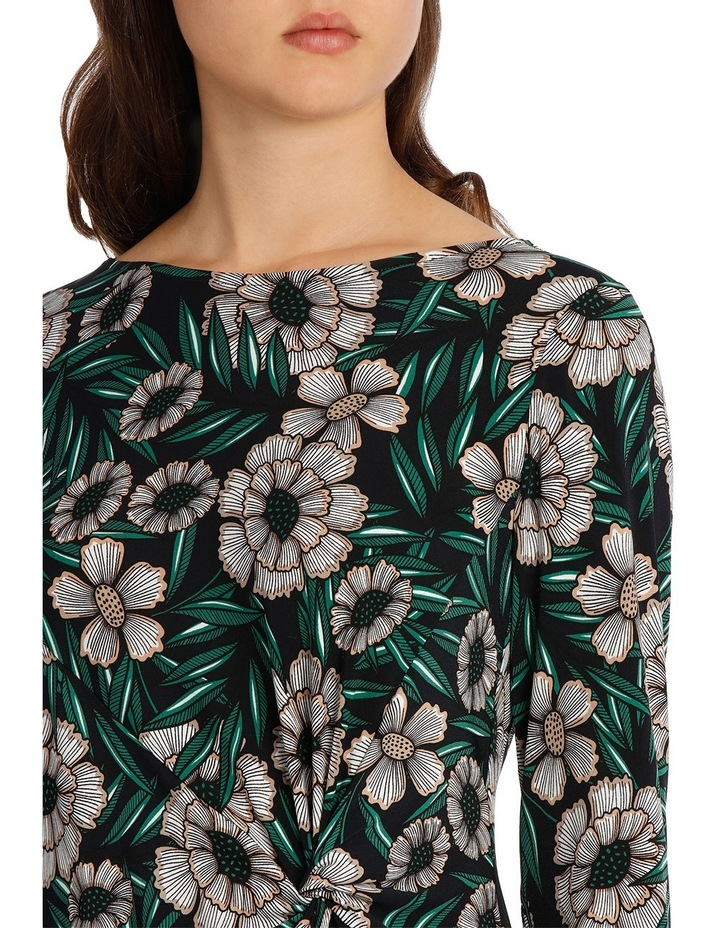 Tropical Leaf Tie Neck Dress With Ruffle 3/4 Sleeve image 4