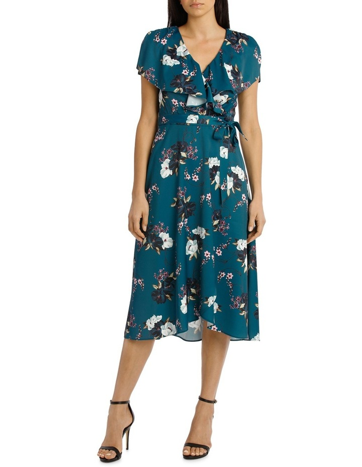 Teal Carnation Wrap Flutter Sleeve Midi Dress image 1