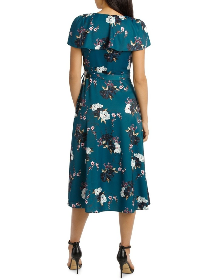 Teal Carnation Wrap Flutter Sleeve Midi Dress image 3