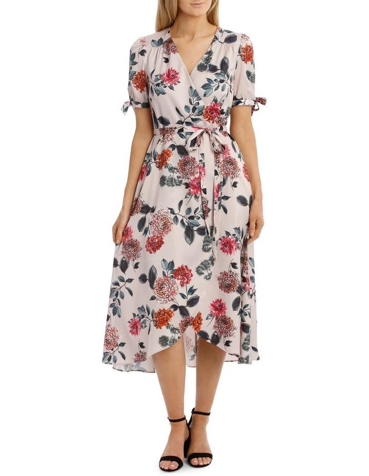 Light Chrysanthemum Tie Sleeve Dress image 1