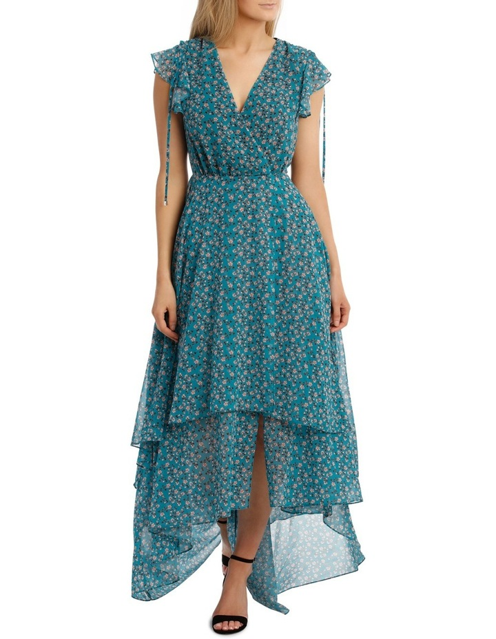 Teal Arrangements Draw Shoulder Tiered Dress image 1