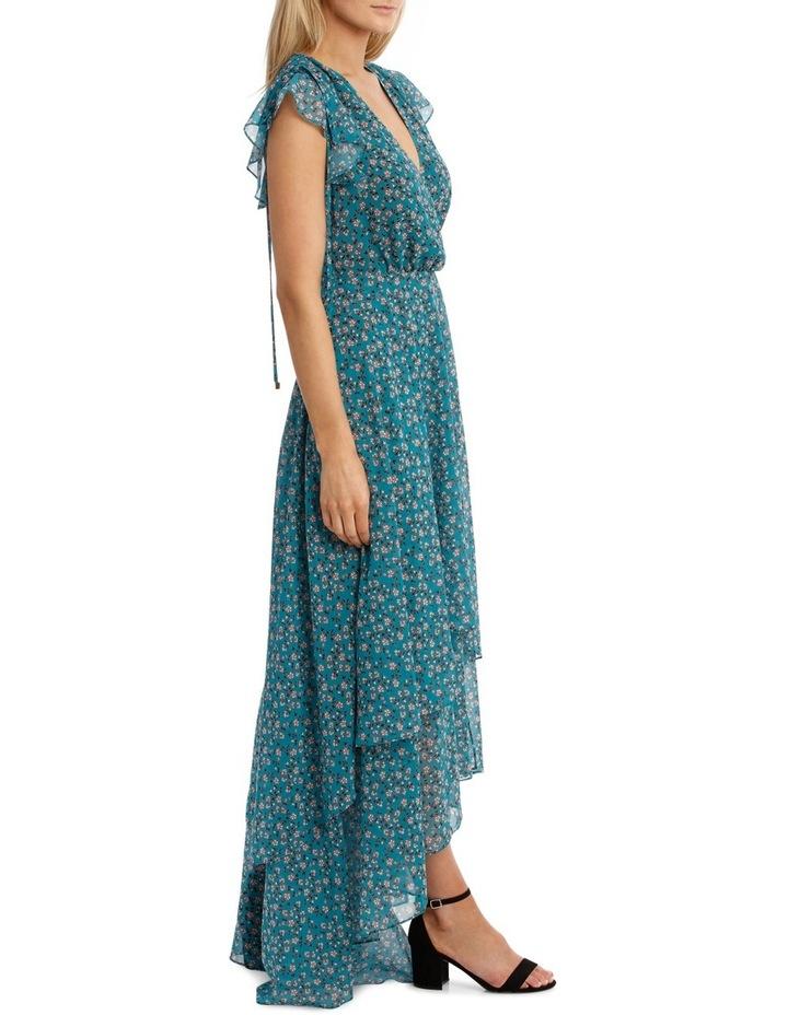 Teal Arrangements Draw Shoulder Tiered Dress image 2