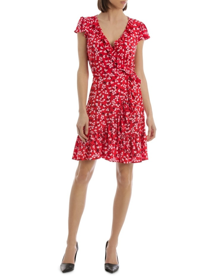 Red Baby Berry Jersey Mock Wrap Dress image 1