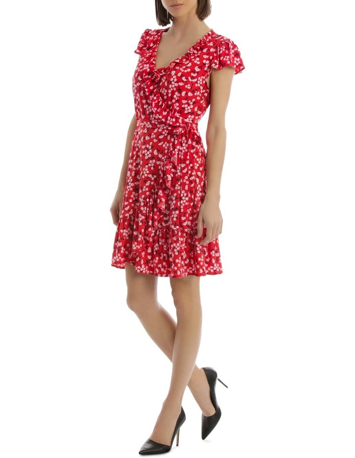 Red Baby Berry Jersey Mock Wrap Dress image 2