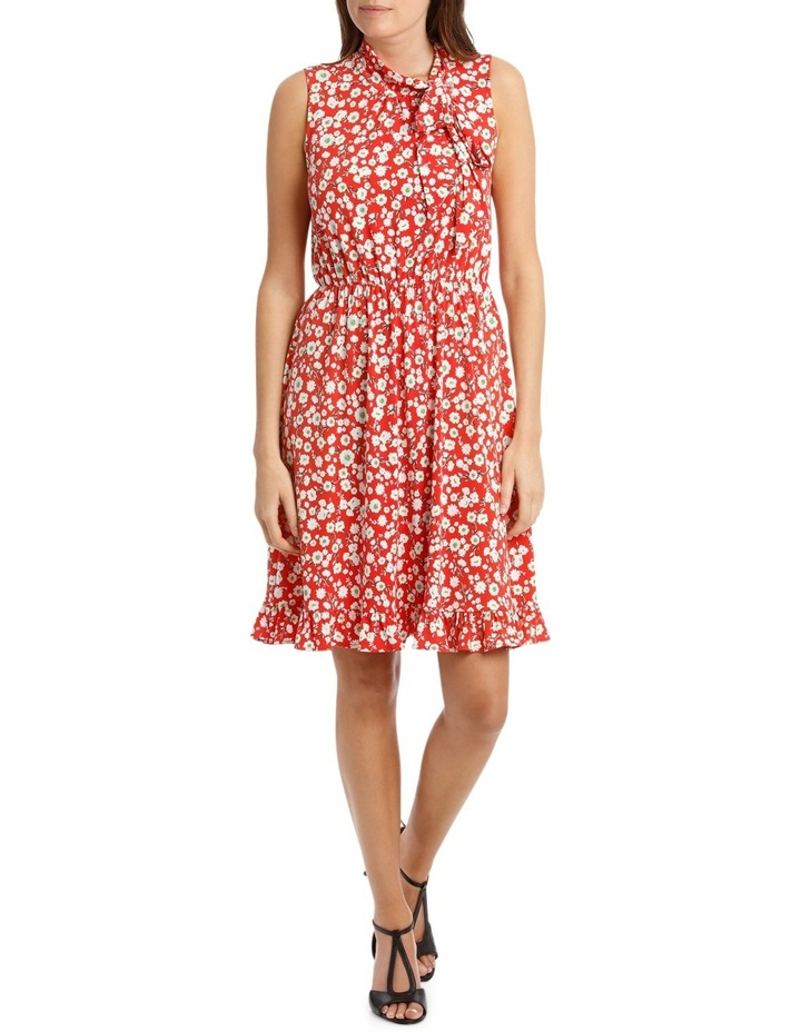 Red Falling Daisy Side Tie Dress image 1