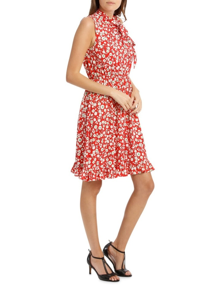Red Falling Daisy Side Tie Dress image 2