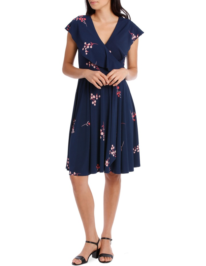 Navy Japanese Blossom Frill Swing Skirt Dress image 1