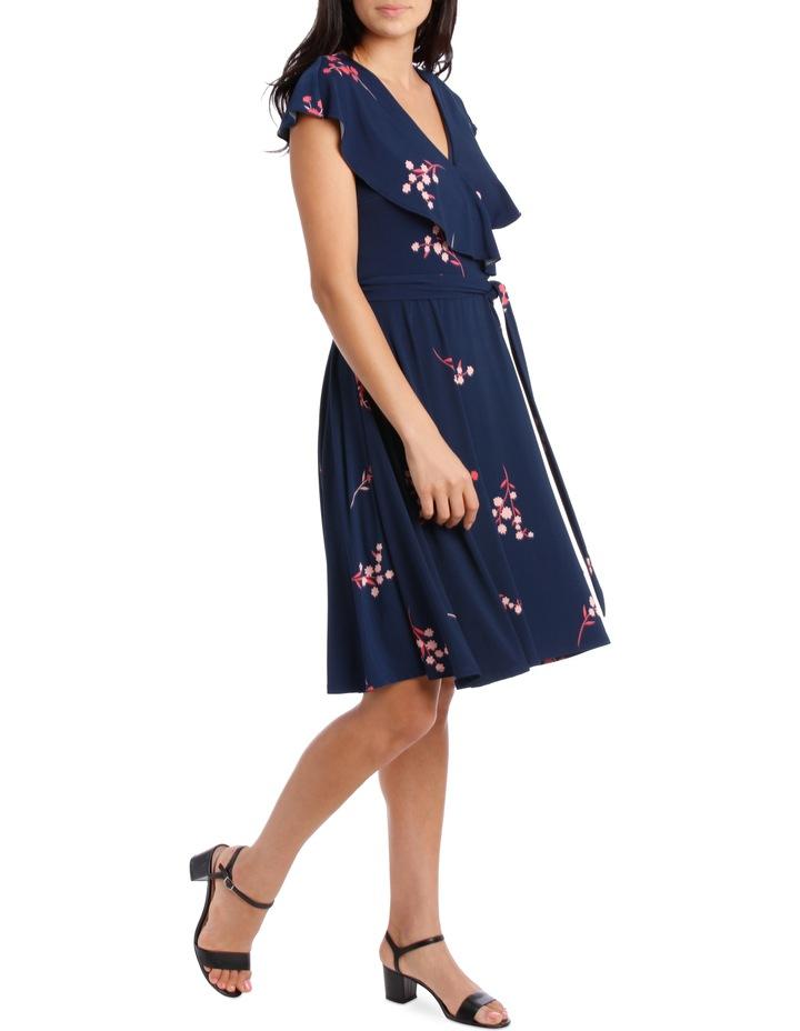 Navy Japanese Blossom Frill Swing Skirt Dress image 2