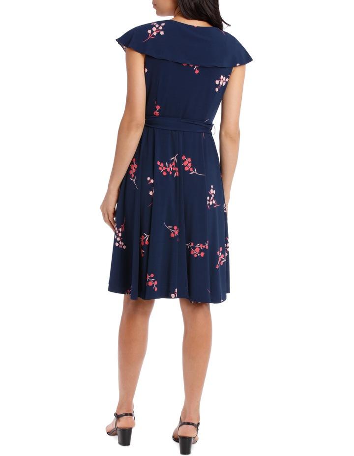 Navy Japanese Blossom Frill Swing Skirt Dress image 3