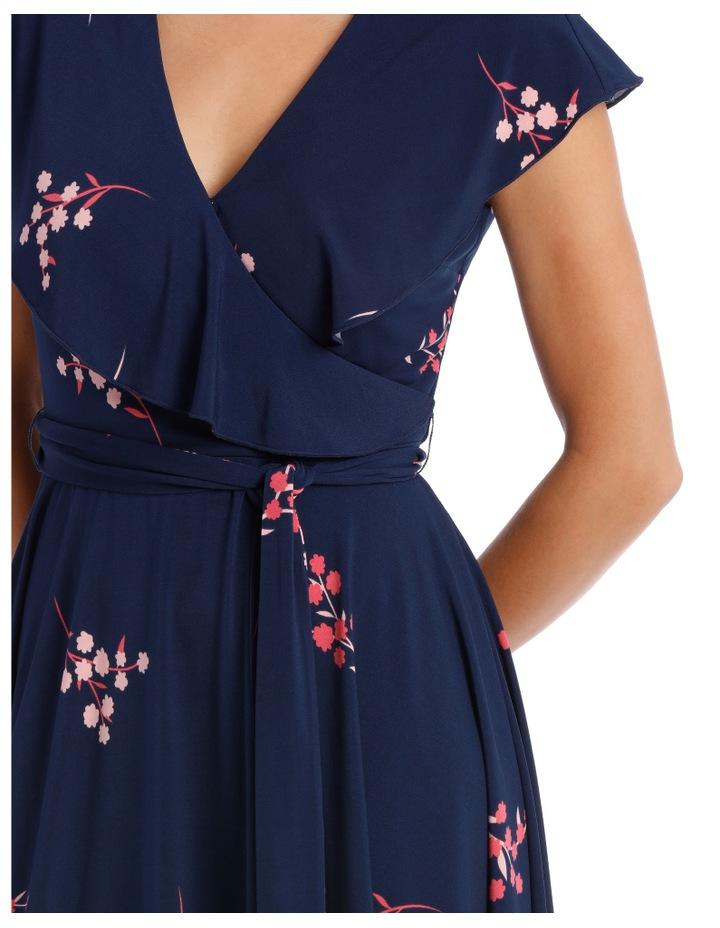 Navy Japanese Blossom Frill Swing Skirt Dress image 4