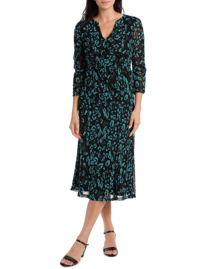 Animal Button Up Rouched Dress image 1