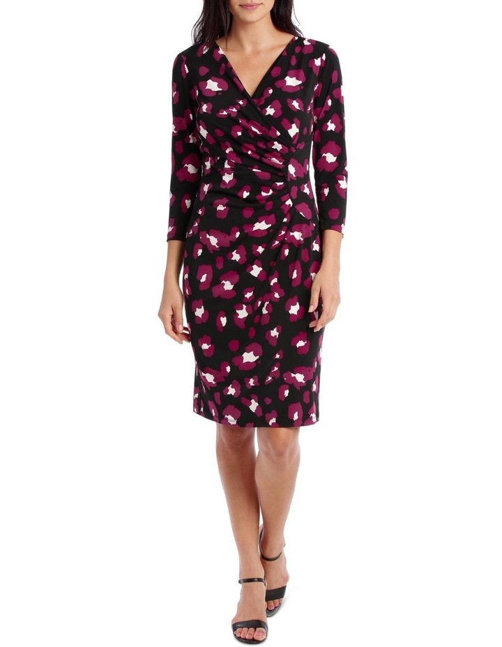 Magenta Wilma Print Side Gather Dress image 1