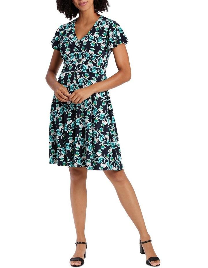 Navy Base Multi Leaf Shirtmaker Dress image 1