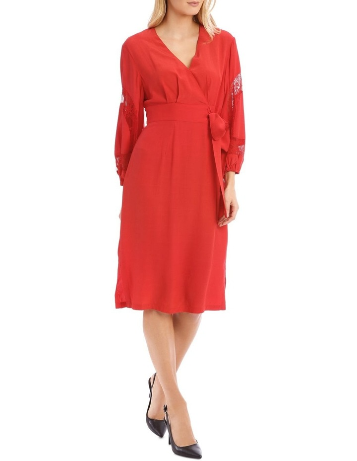Poppy Red Lace Sleeve Viscose Dress image 1