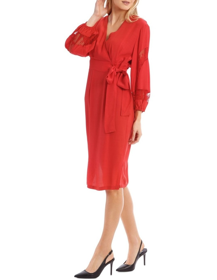 Poppy Red Lace Sleeve Viscose Dress image 2