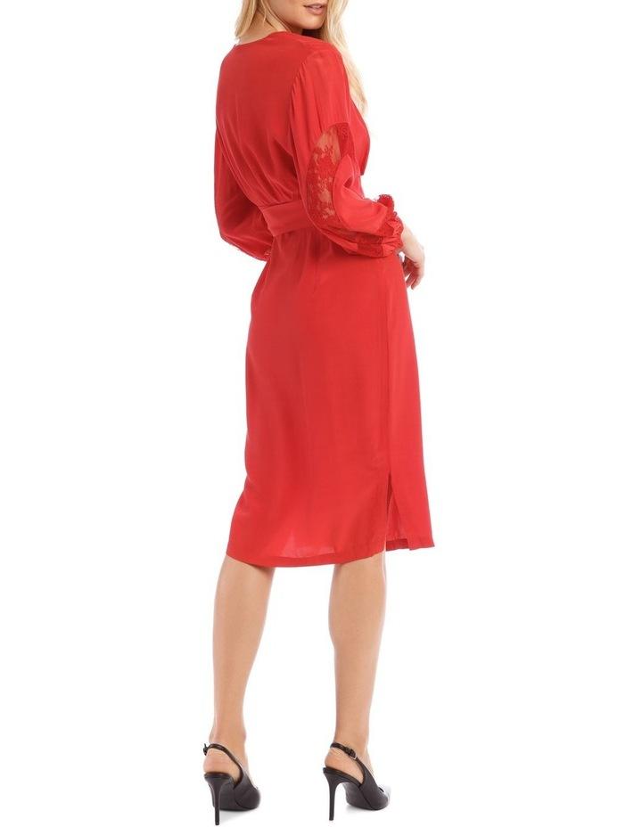 Poppy Red Lace Sleeve Viscose Dress image 3