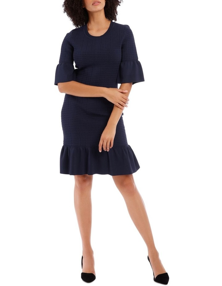 Blue Frill Jacquard Shift Knit Dress image 1