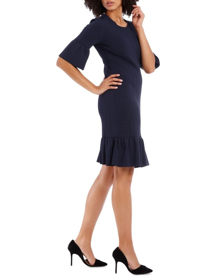 Blue Frill Jacquard Shift Knit Dress image 2