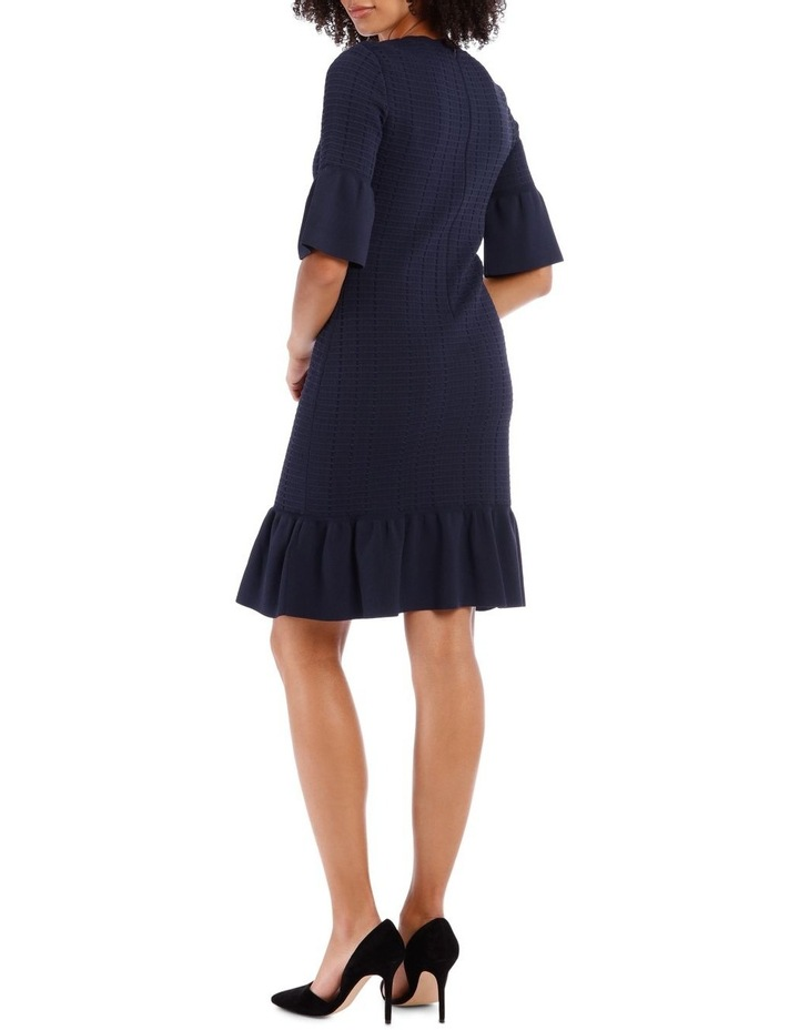 Blue Frill Jacquard Shift Knit Dress image 3