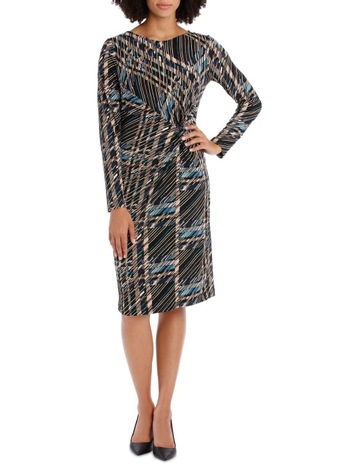 17a202b2fe9ea Leona by Leona EdmistonBlack Check Long Sleeve Tie Front Dress. Leona by  Leona Edmiston Black Check Long Sleeve Tie Front Dress