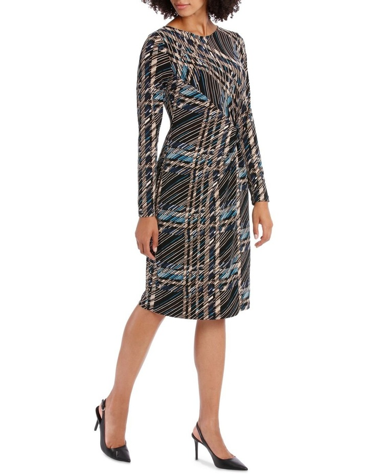 Black Check Long Sleeve Tie Front Dress image 2