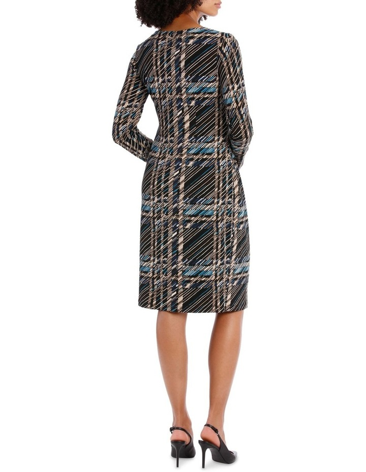 Black Check Long Sleeve Tie Front Dress image 3