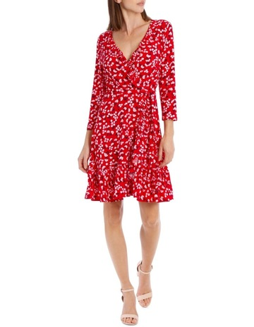 6532473f69087 Leona by Leona Edmiston3/4 Slv Red Baby Berry Jersey Mock Wrap Dress. Leona  by Leona Edmiston 3/4 Slv Red Baby Berry Jersey Mock Wrap Dress