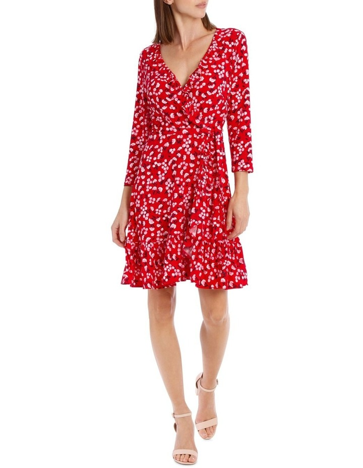 3/4 Slv Red Baby Berry Jersey Mock Wrap Dress image 1