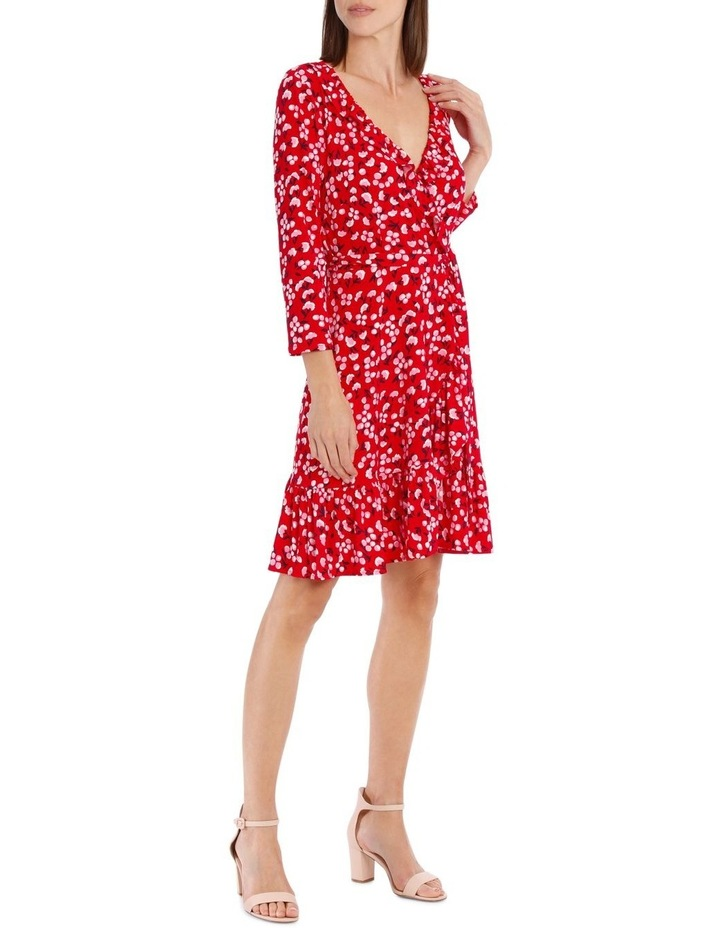 3/4 Slv Red Baby Berry Jersey Mock Wrap Dress image 2