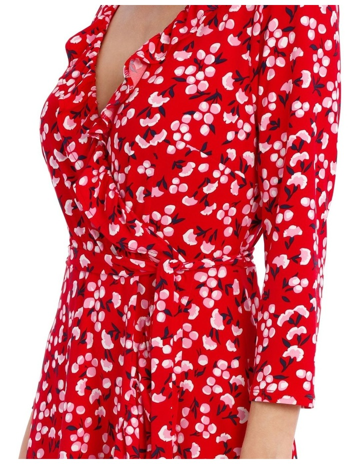 3/4 Slv Red Baby Berry Jersey Mock Wrap Dress image 4