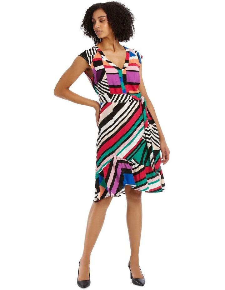 Flutter Sleeve Stripe Wrap Dress image 1