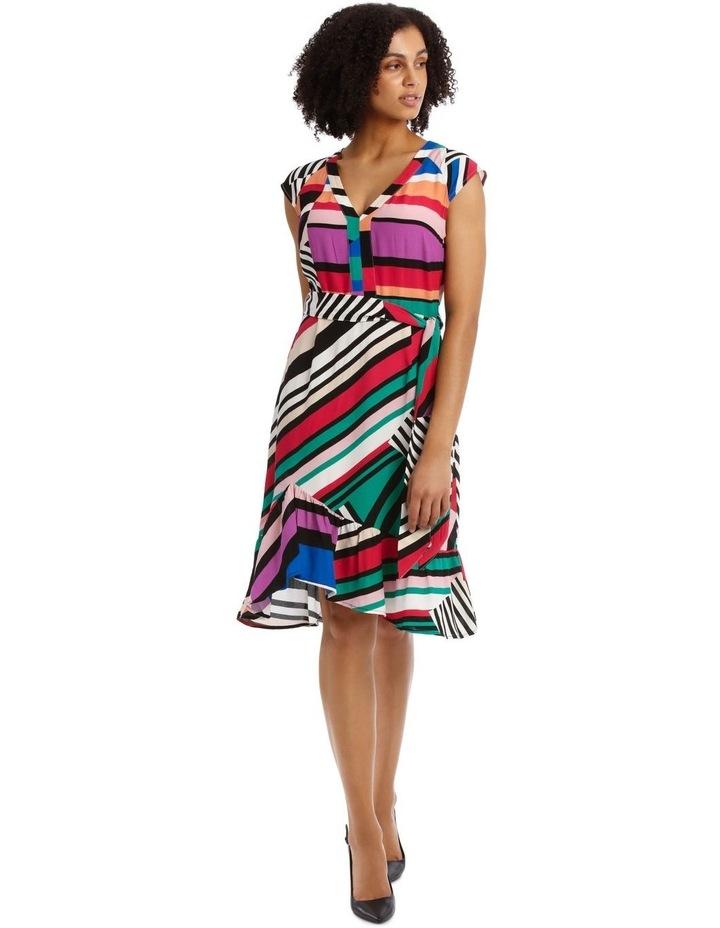 Flutter Sleeve Stripe Wrap Dress image 2