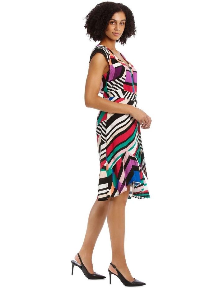 Flutter Sleeve Stripe Wrap Dress image 3