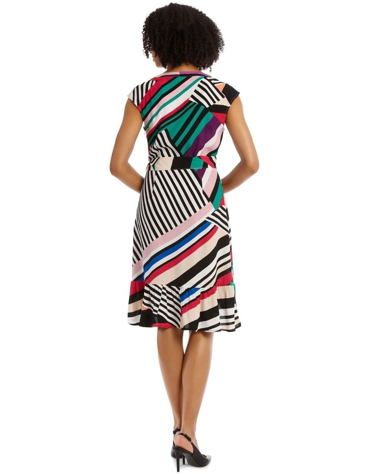 Flutter Sleeve Stripe Wrap Dress image 4