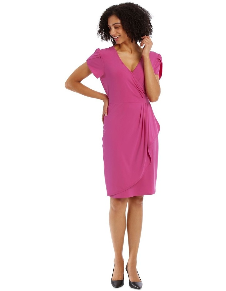 Pink Contrast Pipe Wrap Dress image 1