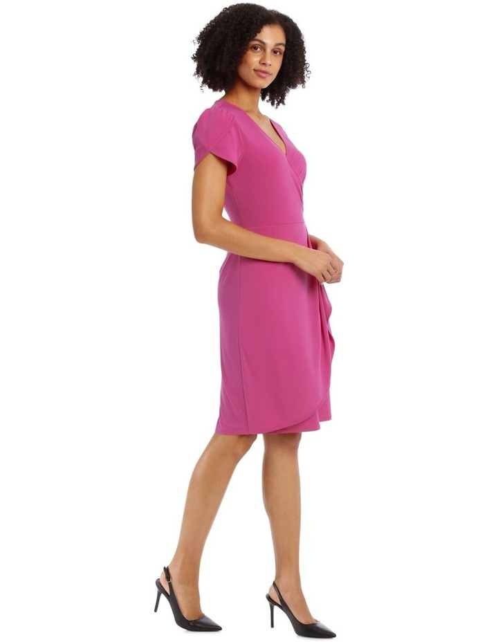 Pink Contrast Pipe Wrap Dress image 2
