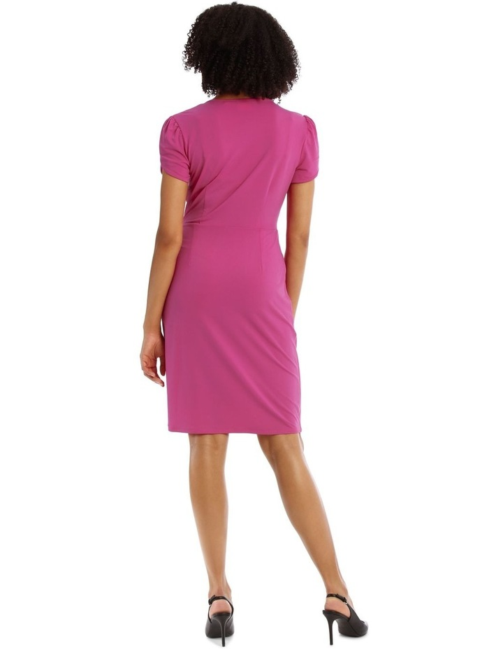 Pink Contrast Pipe Wrap Dress image 3