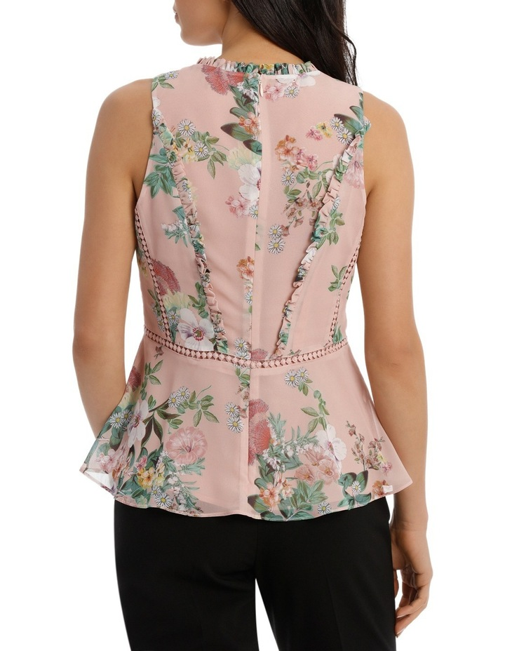 Valli Floral High Neck Ruffle Top image 3