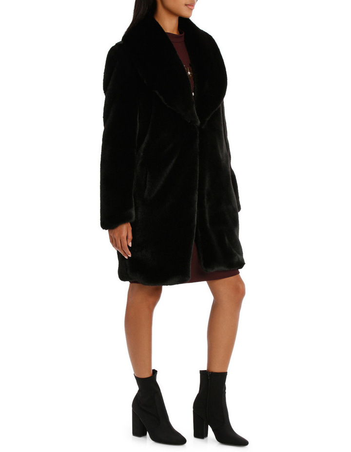 Black Shawl Collar Faux Fur Coat image 2