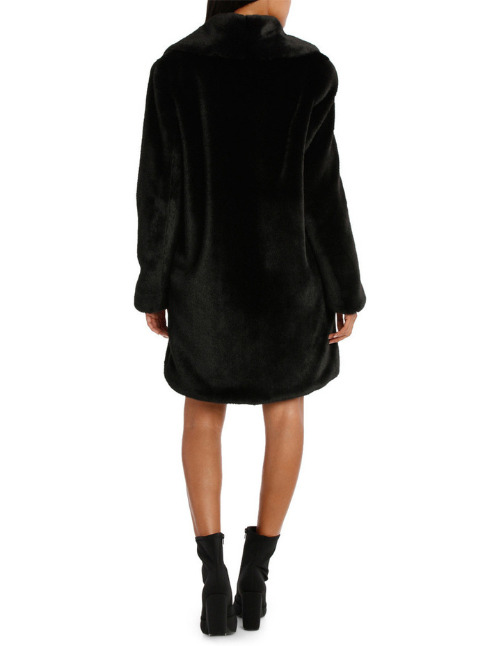 Black Shawl Collar Faux Fur Coat image 3