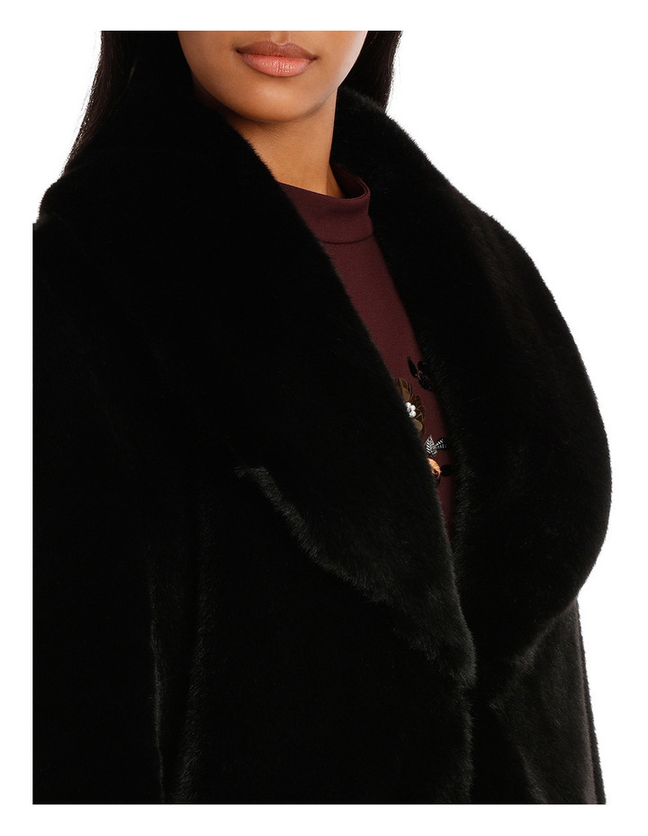 Black Shawl Collar Faux Fur Coat image 4