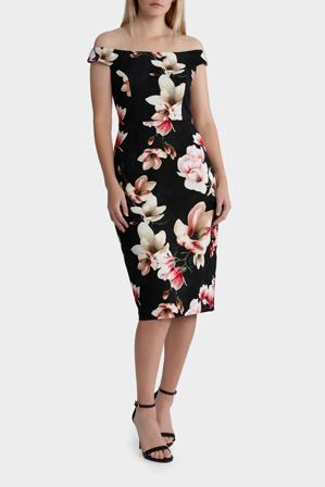 Jayson Brunsdon Black Label - Anna Black Khaki Floral Dress