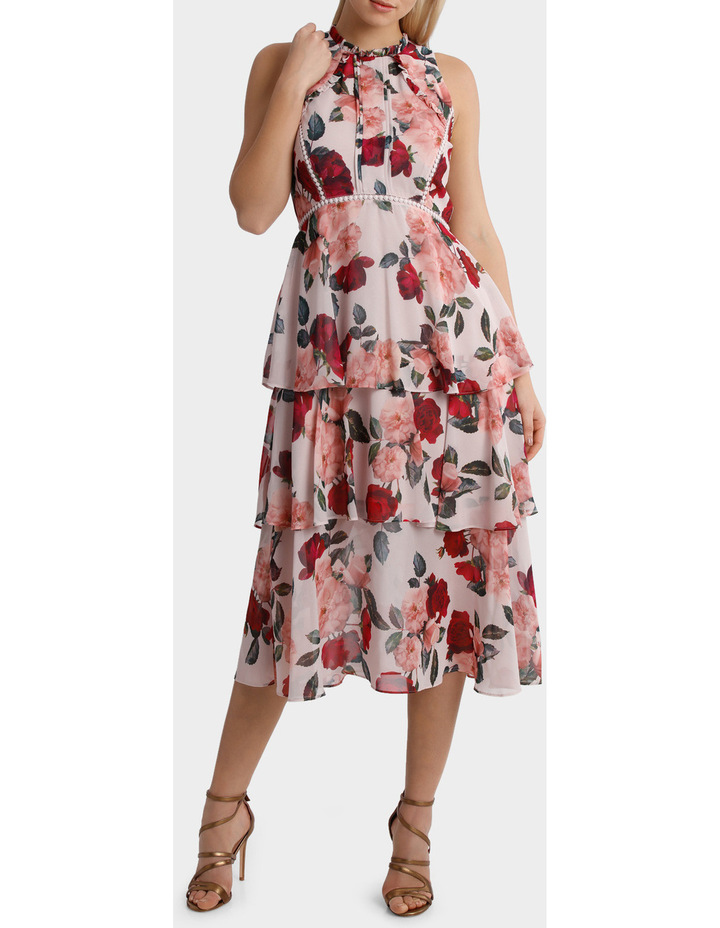 'Rose Garden' High Neck Ruffle Dress With Trim Detail image 1