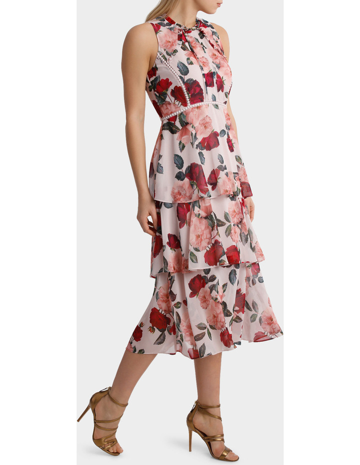 'Rose Garden' High Neck Ruffle Dress With Trim Detail image 2