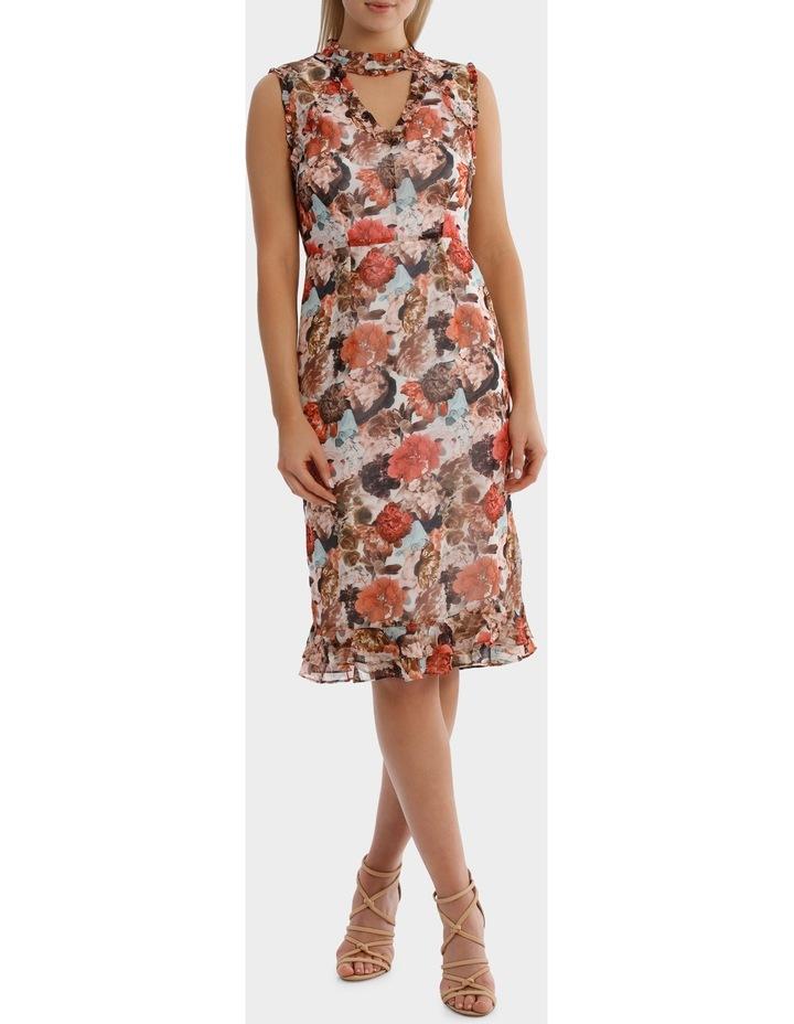 V Neck Photographic Print  Ruffle  Dress image 1