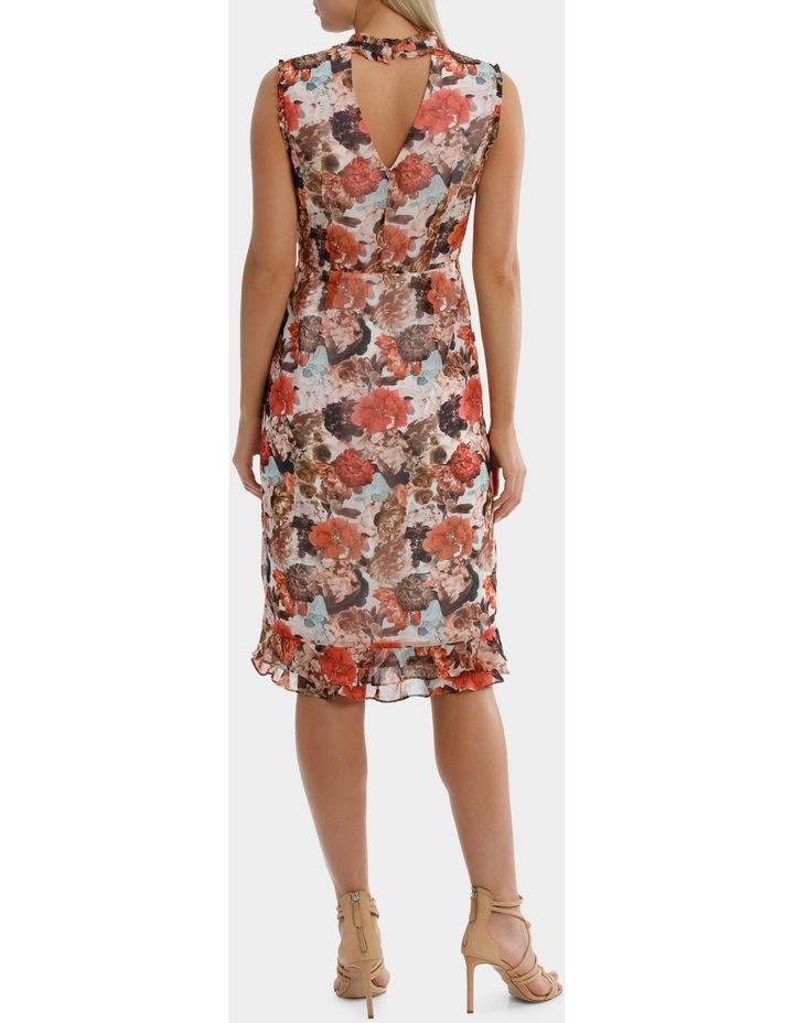 V Neck Photographic Print  Ruffle  Dress image 3