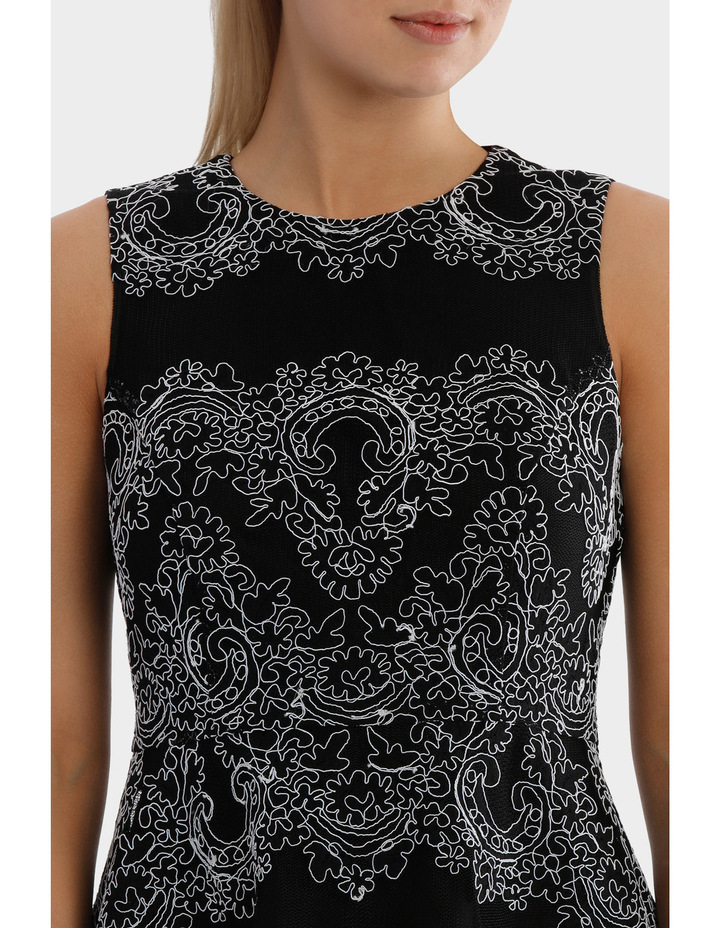 Cornelli Mesh Black And White Lace Dress image 4
