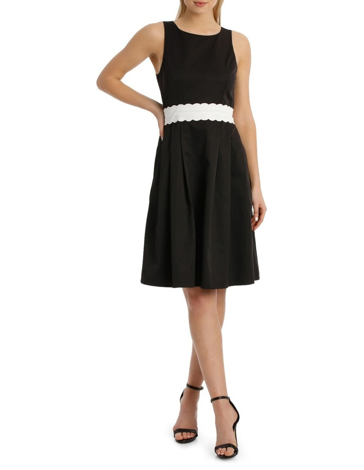 Fit And Flare Scallop Detail Waistand Dress image 1